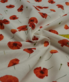 Tissu coton polyester imprimé coquelicots (0.9€/10cm)