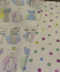 Tissu coton polyester imprimé pois (0.9€/10cm)