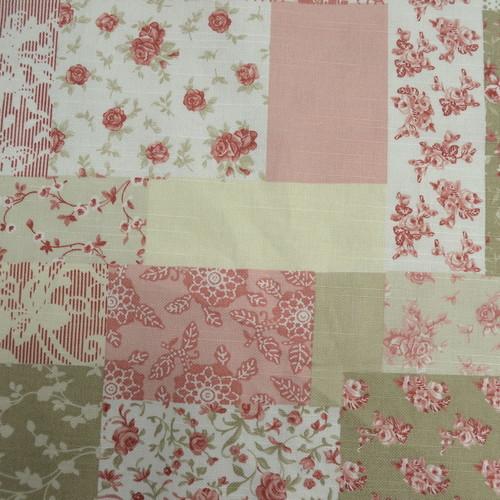 Toile de coton imprimé romantique effet patchwork (1.00€/10cm)