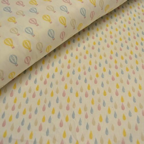 Tissu coton imprimé montgolfières