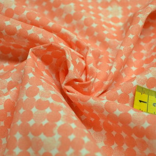 Tissu coton imprimé corail petits ronds