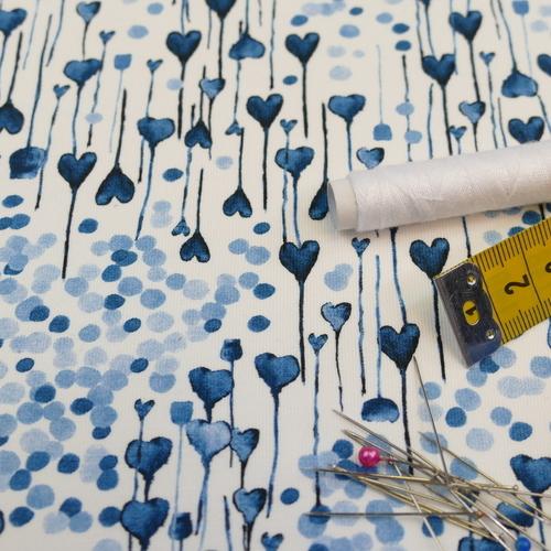 Jersey sweat bouclette imprimé coeur bleu d'Hilco (2.4€/10cm)