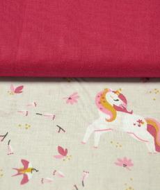 Tissu coton imprimé licornes sur fond grège (3.5€/50cm)