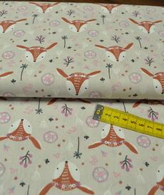 Tissu cretonne imprimé biches LOUNA (3.5€/50cm)
