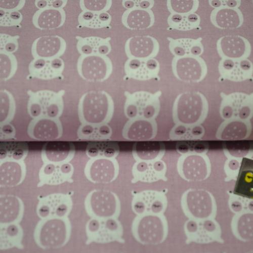 Tissu coton imprimé Hiboux vieux rose (3.5€/50cm)