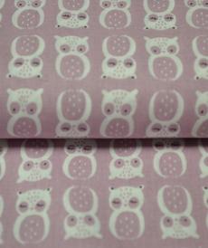Tissu coton imprimé Hiboux vieux rose