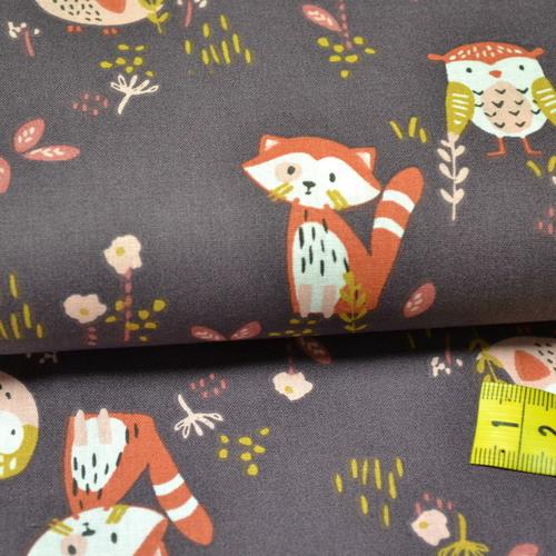 """Tissu coton imprimé """"hiboux et pandas roux"""" SOKIDY"""