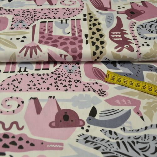Tissu coton safari grands motifs roses/gris (4€/50cm)
