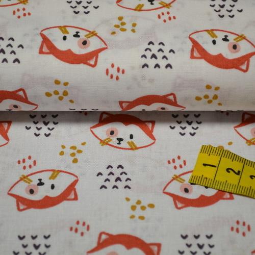 Tissu cretonne imprimé pandas roux sur fond blanc (3.5€/50cm)