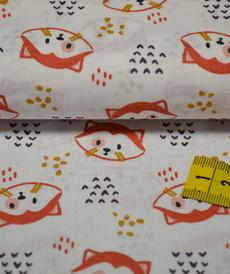 Tissu coton imprimé pandas roux sur fond blanc
