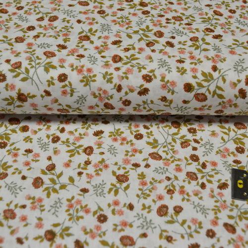 Tissu coton imprimé petites fleurs tomette/thym
