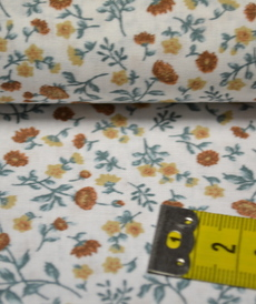 Tissu coton imprimé petites fleurs muscade/artic