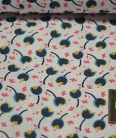 Tissu coton imprimé petites fleurs sur fond blanc