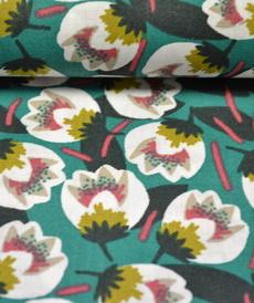 Tissu coton imprimé petites fleurs sur fond vert