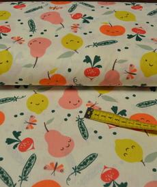 Tissu coton imprimé fruits et légumes rigolos (3.5€/50cm)