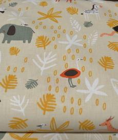 Tissu cretonne imprimé safari GIZOU (3.5€/50cm)