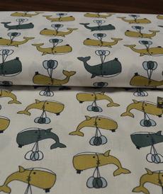Tissu coton imprimé Baleines BALIBA (3.5€/50cm)