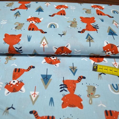 Tissu cretonne imprimé pandas roux sur fond bleu (3.5€/50cm)