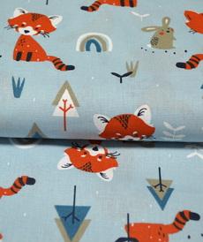 Tissu coton imprimé pandas roux sur fond bleu (3.5€/50cm)