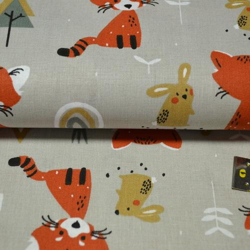 Tissu cretonne imprimé pandas roux sur fond beige taupe (3.5€/50cm)