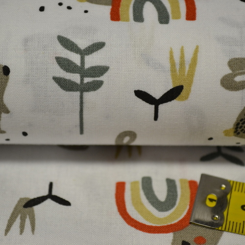 Tissu coton imprimé petits lapins et arcs (3.5€/50cm)