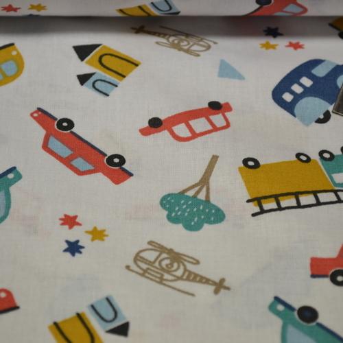 Tissu cretonne imprimé les véhicules (3.5€/50cm)