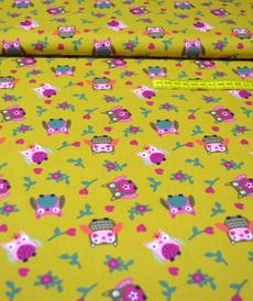 Tissu coton imprimé hiboux fond ocre (5€/50cm)
