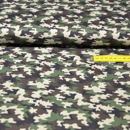 Tissu coton imprimé camouflage kaki