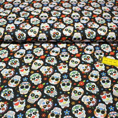 Tissu coton imprimé tête de mort mexicaine