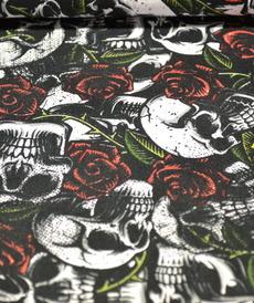 Tissu coton imprimé tête de mort et roses by Poppy