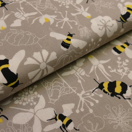 Tissu coton haut de gamme imprimé Abeilles sur fond beige (1.9€/10cm)