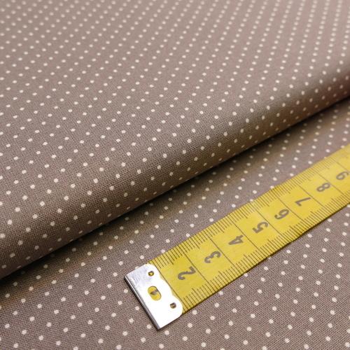 Tissu coton haut de gamme imprimé petits pois taupe (1.9€/10cm)