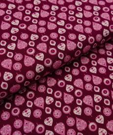 Tissu coton haut de gamme motifs rétro fuchsia/rétro