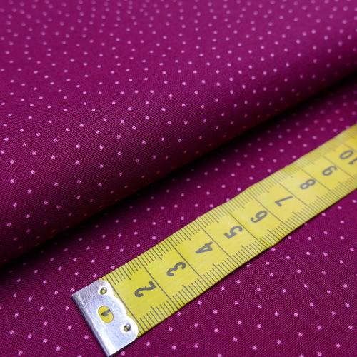 Tissu coton haut de gamme petits pois bordeaux grenat