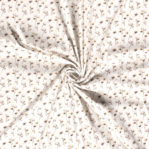 Jersey de coton brindilles sur fond blanc (8€/50cm)