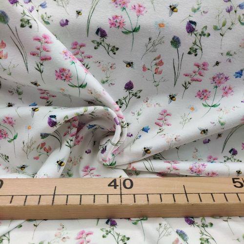 Jersey de coton petites fleurs et abeilles