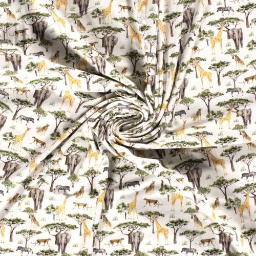 Jersey de coton animaux de la jungle (8€/50cm)