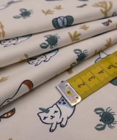 Jersey de coton imprimé faunes aquatiques OBULLES (50 cm/5.75€)