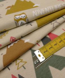 Jersey de coton imprimé Tipi renard ocre