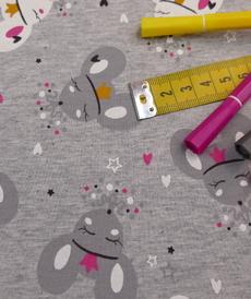 Jersey sweat gratté gris chiné imprimé souris (1.6€/10cm)