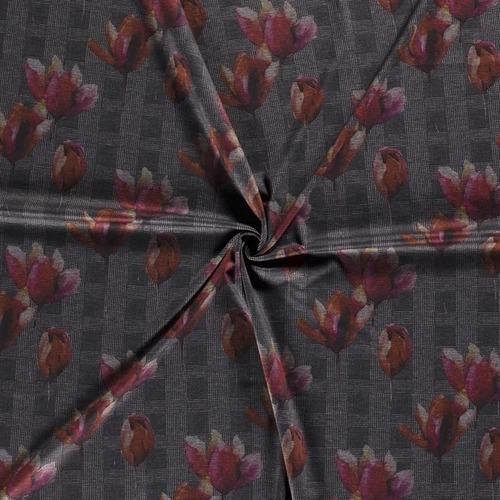 Jersey punta di milano imprimé prince de Galles et fleurs (1.39€/10cm)