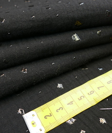 Double gaze à motifs brillants noir ton sur ton (0.95cm/10cm)