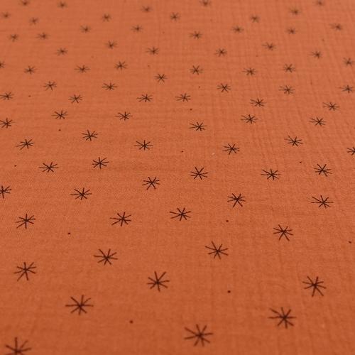 Double gaze brique à petites étoiles (0.95€/10cm)