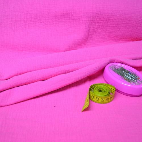 Double gaze de coton uni fuchsia (0.85€/10cm)