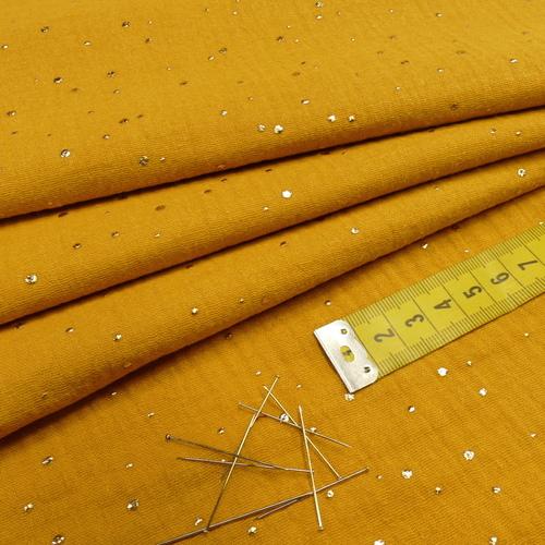 Double gaze à pois doré ocre (0.95cm/10cm)