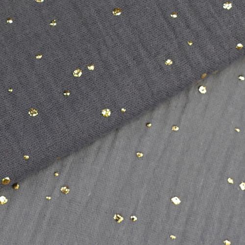 Double gaze à pois doré gris foncé (0.95cm/10cm)