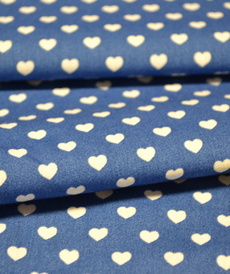 Coton coeur blanc fond bleu cobalt