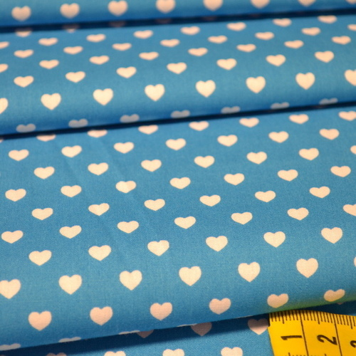 Coton coeur blanc fond aqua (0.75€/10cm)