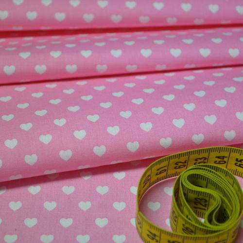 Coton coeur blanc fond rose (0.75€/10cm)