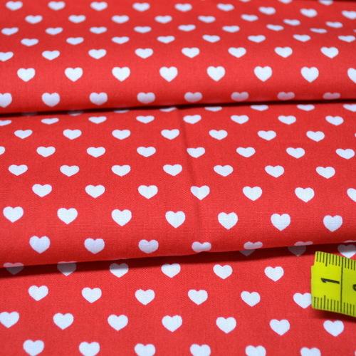 Coton coeur blanc fond rouge (0.75€/10cm)